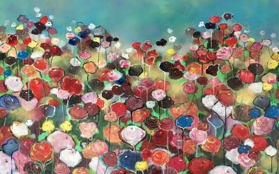 Fabulous Flowers, 100x70cm, in opdracht van Petra&Wim