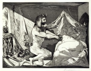 Faun Revealing a Sleeping Woman (Jupiter and Antiope, after Rembrandt) 1936 Pablo Picasso 1881-1973 Presented by Gustav and Elly Kahnweiler 1974, accessioned 1994 http://www.tate.org.uk/art/work/P11360