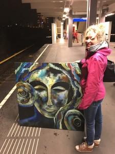 Mee in de metro naar schilderles :)