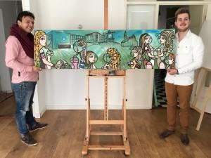 Laurens en Kelvin kwamen het schilderij ophalen