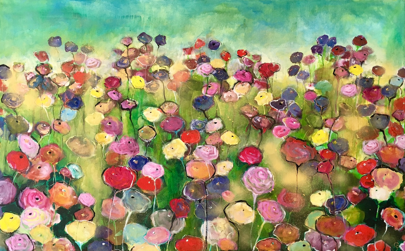Fields of Joy 122x76cm - Claudia Schmit Schilderijen
